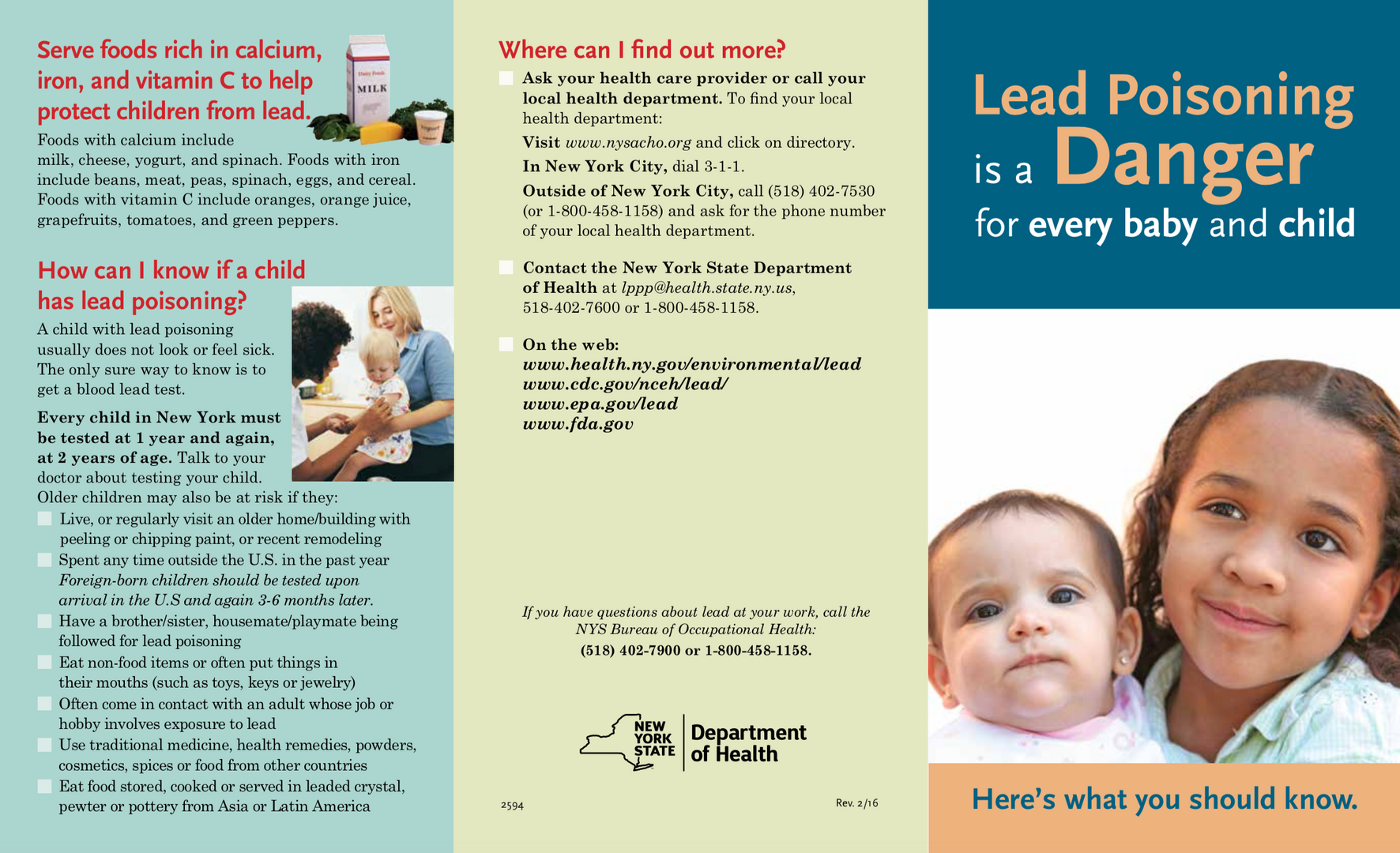 Pamphlet on lead poisoning in children in English