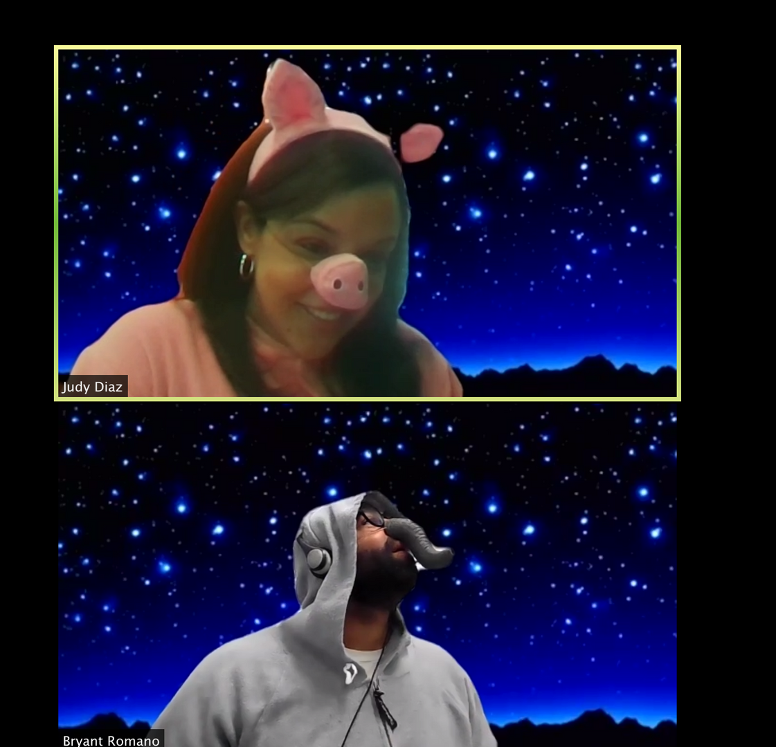Image of Zoom session with two people dressed as a pig and an elephant
