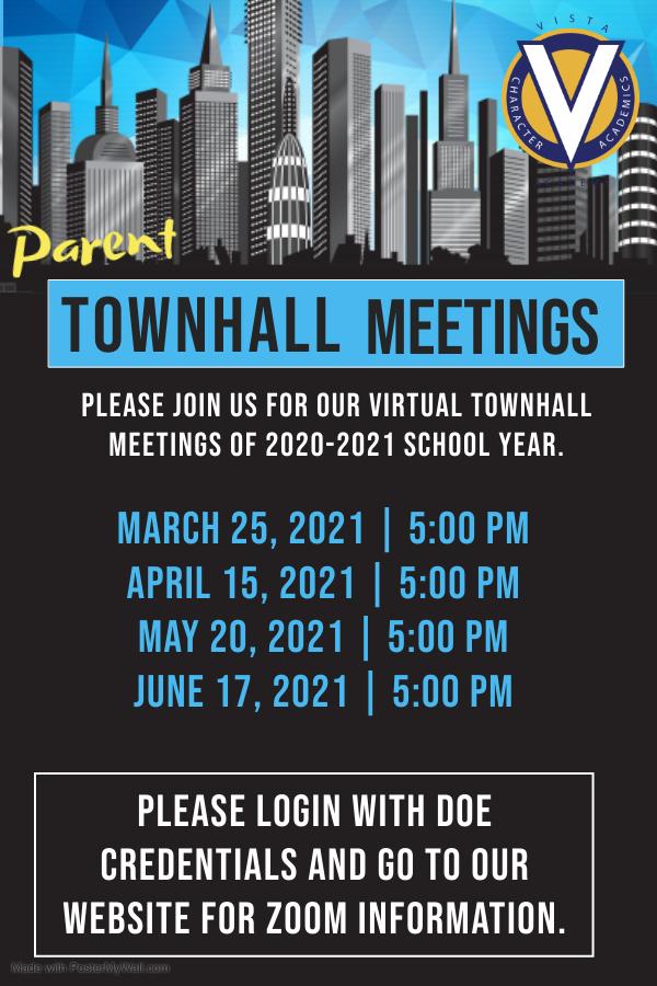 Virtual Townhall Meetings 2020-2021 school year