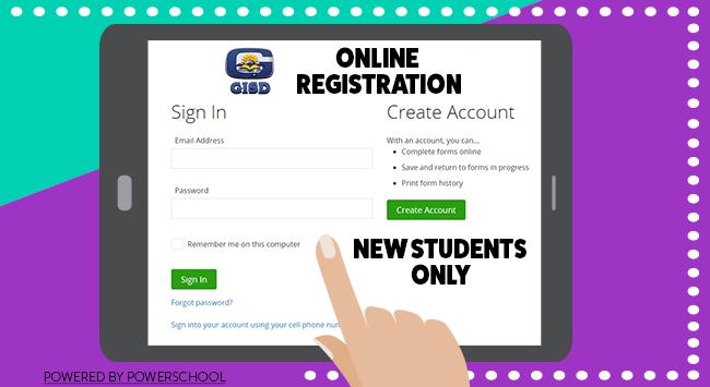 GISD Online Registration banner