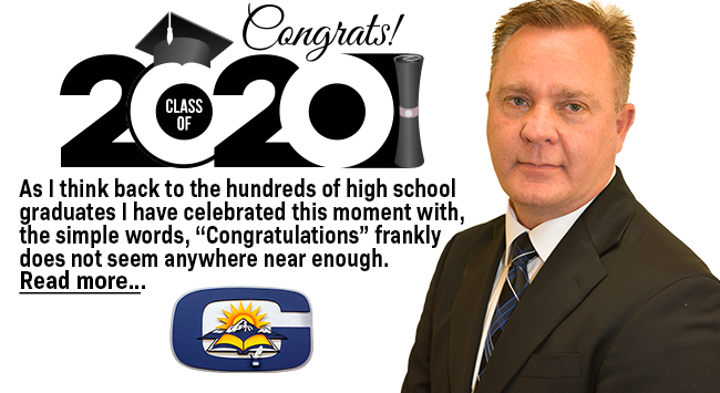 Congratulation letter to Class of 2020 Superintendent banner