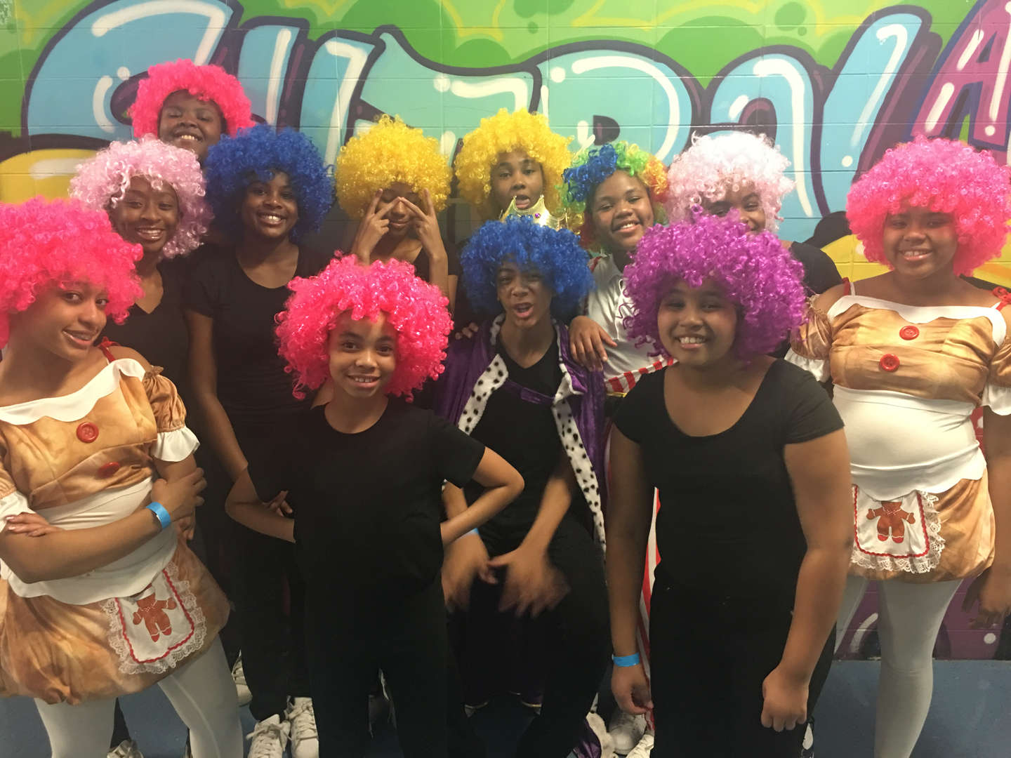 Students with colorful wigs on