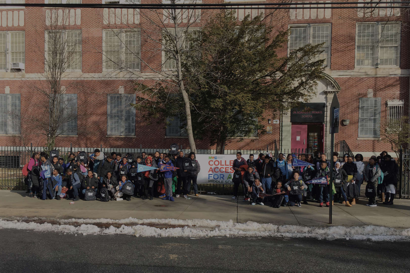 Students in front of 147 building