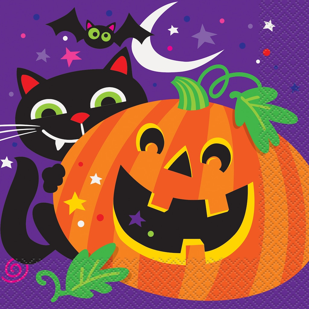 A picture of a big Jack-o-lantern and a Black cat.