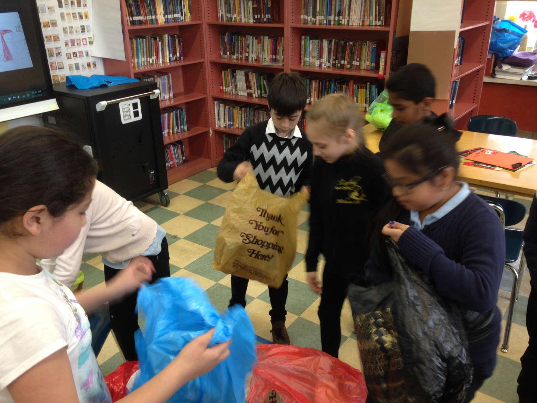 Children openning bags