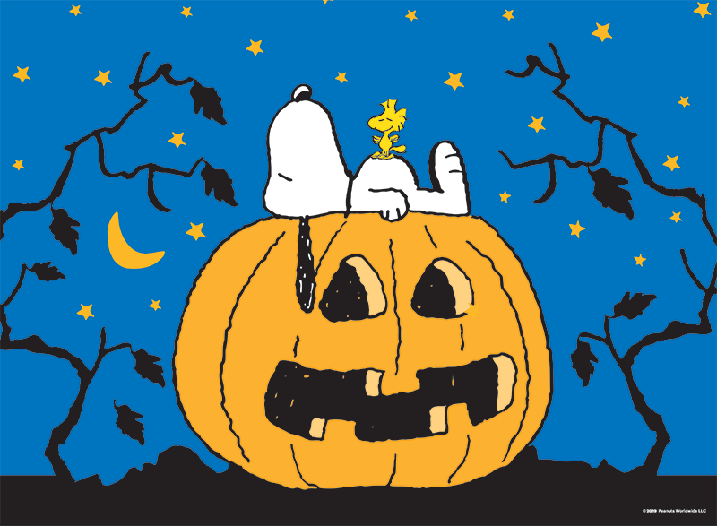 Snoopy lying on top of a pumpkin