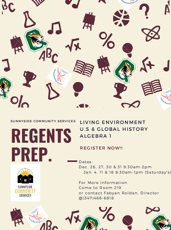 Visit room 219 to learn about Regents exam tutoring classes.