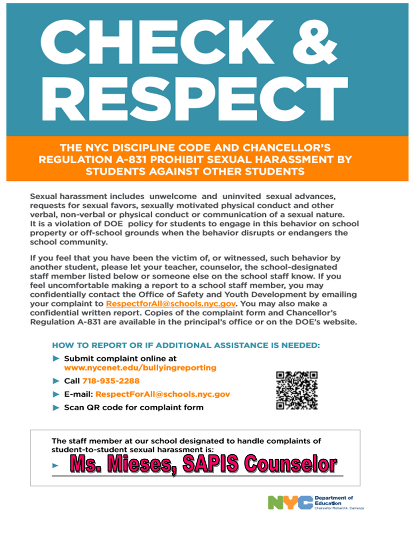 Sexual Harrassment - Contact Ms. Mieses