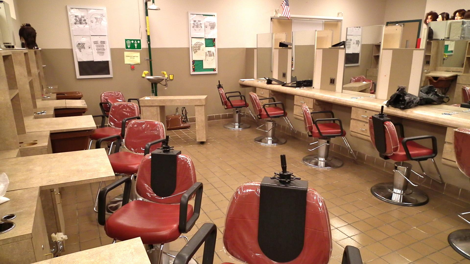 Empty chairs in the cosmetology laboratory