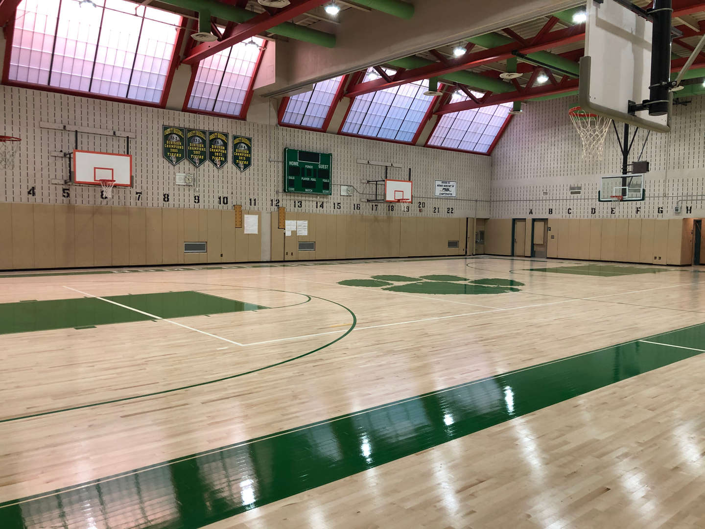 Gymnasium floor and the basketball court