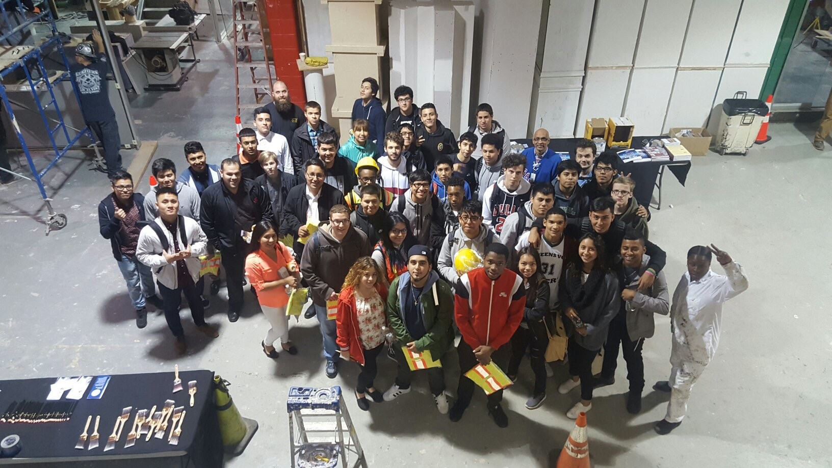 Students touring a factory