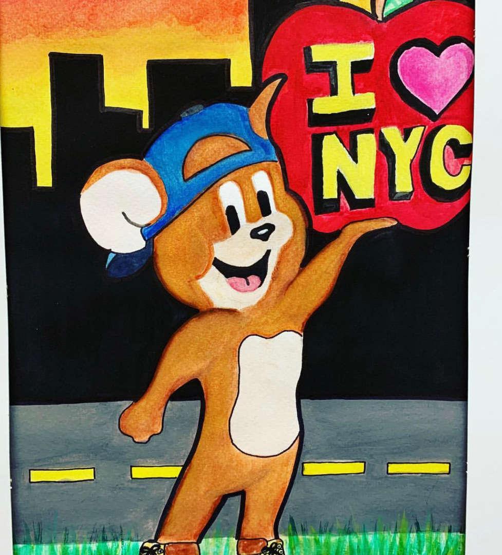 A superhero mouse holding the I Love NY sign