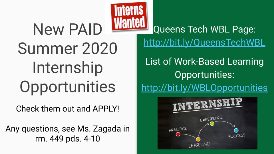 Visit room 449 to learn about summer internship opportunities