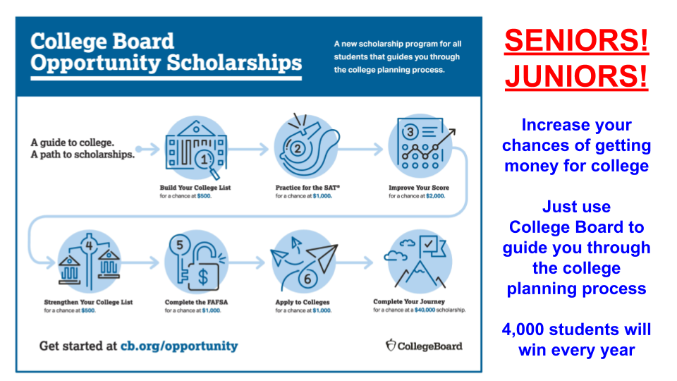 Visit room 143 for more information about College Board scholarships