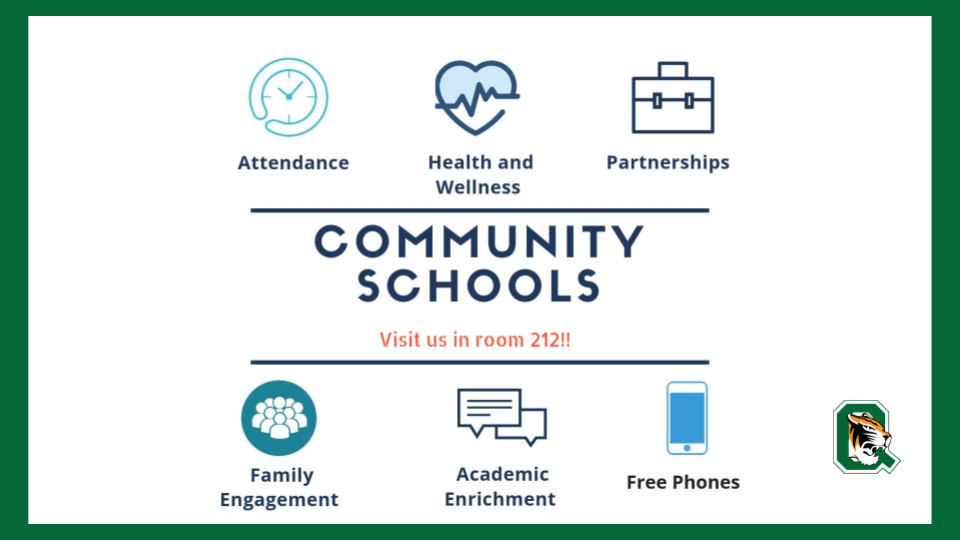 Visit room 212 for more information about Community Schools.