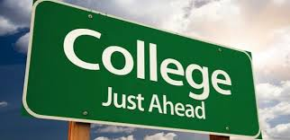 "Highway sign with the message ""College Just Ahead"""