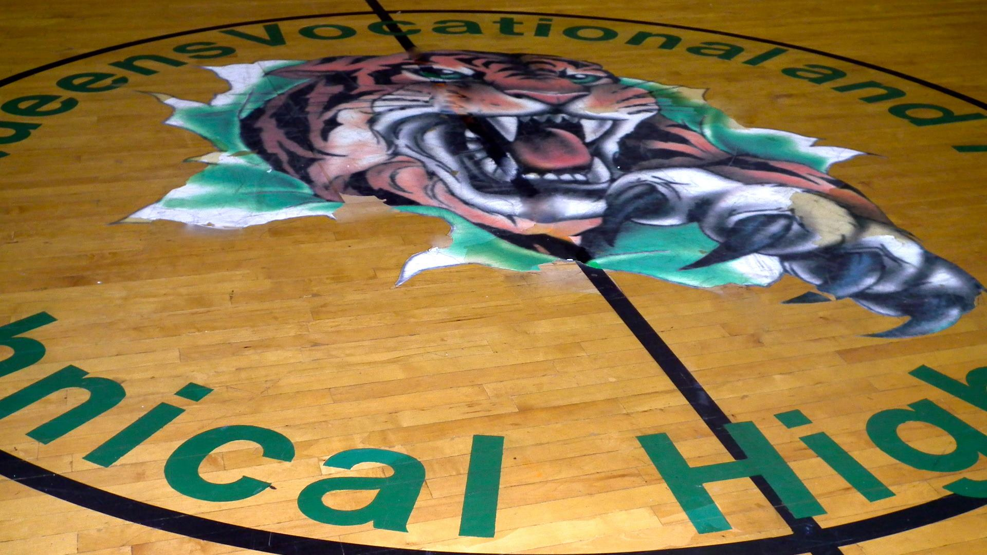 Tiger mascot on the gym floor