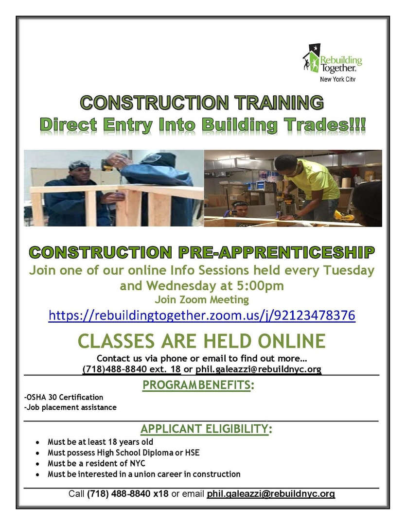 Construction training means direct entry into the building trades