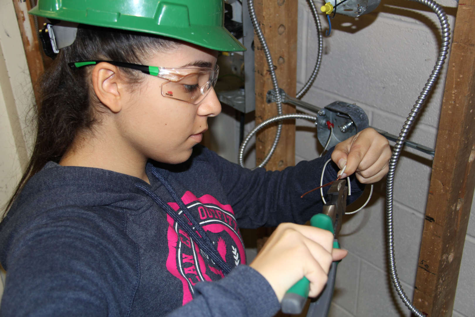 Student working in electrical installation