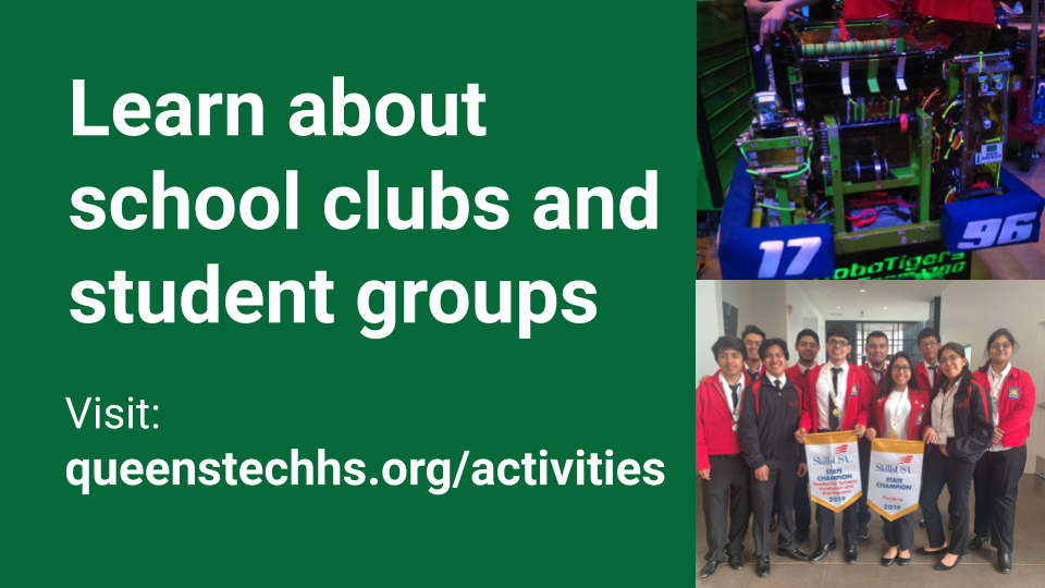Visit the Student Activities page to learn about student clubs.