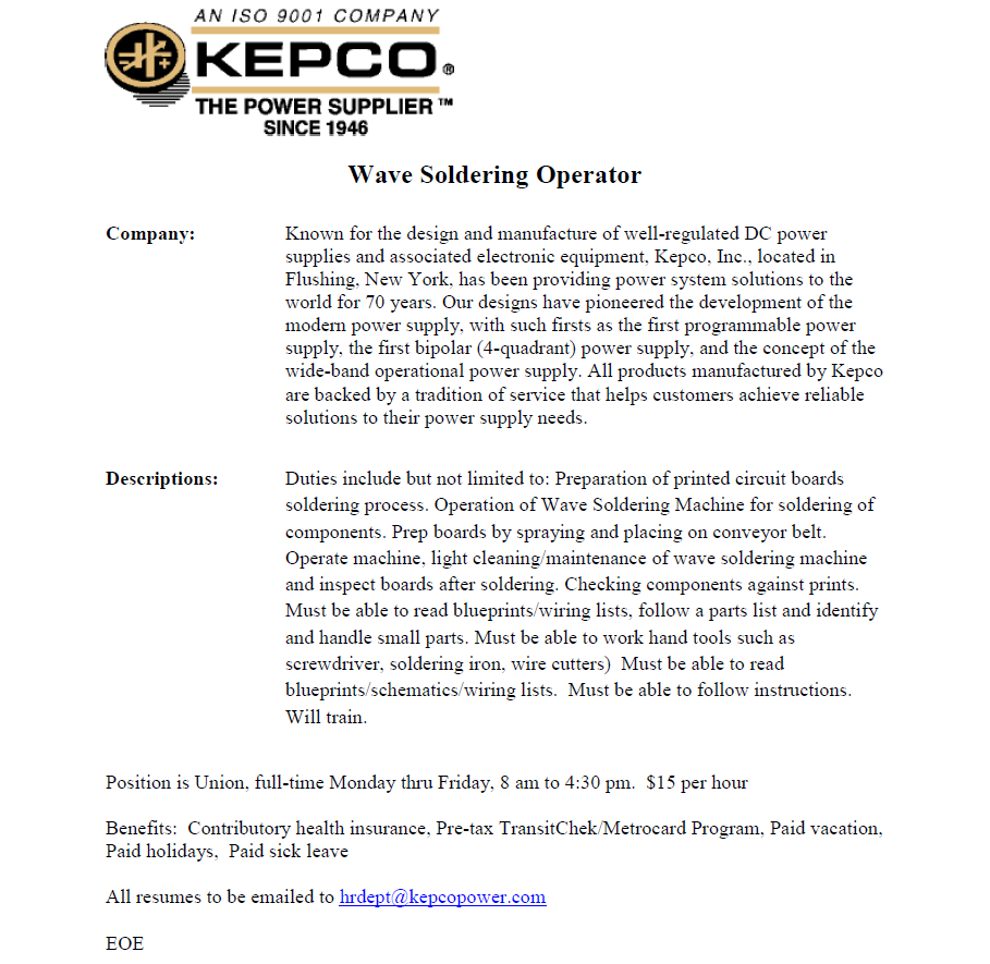 KEPCO Wave Soldering Operator. About the company, job description and benefits.