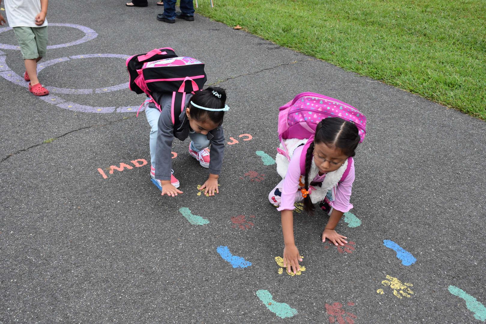 2 girls on activity path