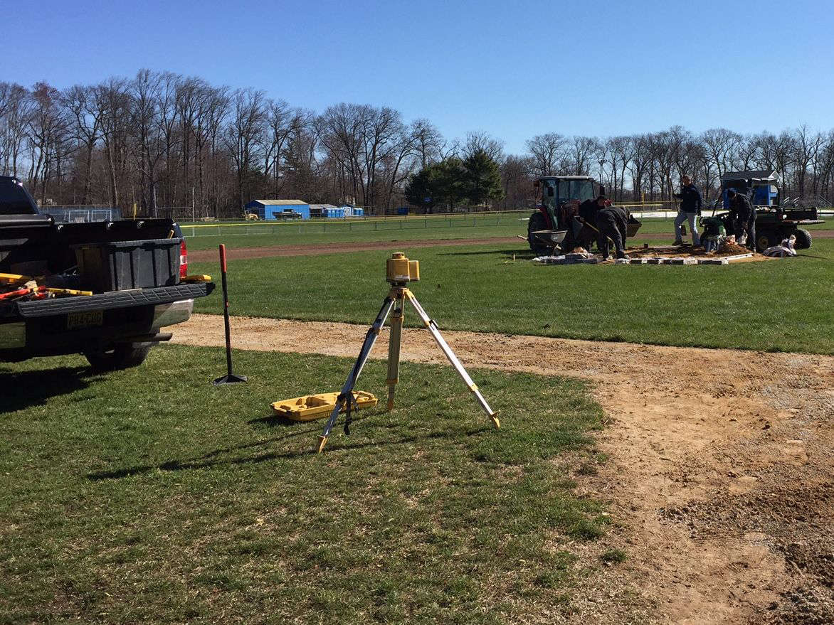 Surveying equipment at PRHS baseball field 2015-16