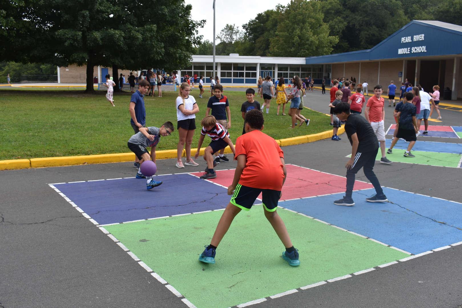 MS students playing at recess