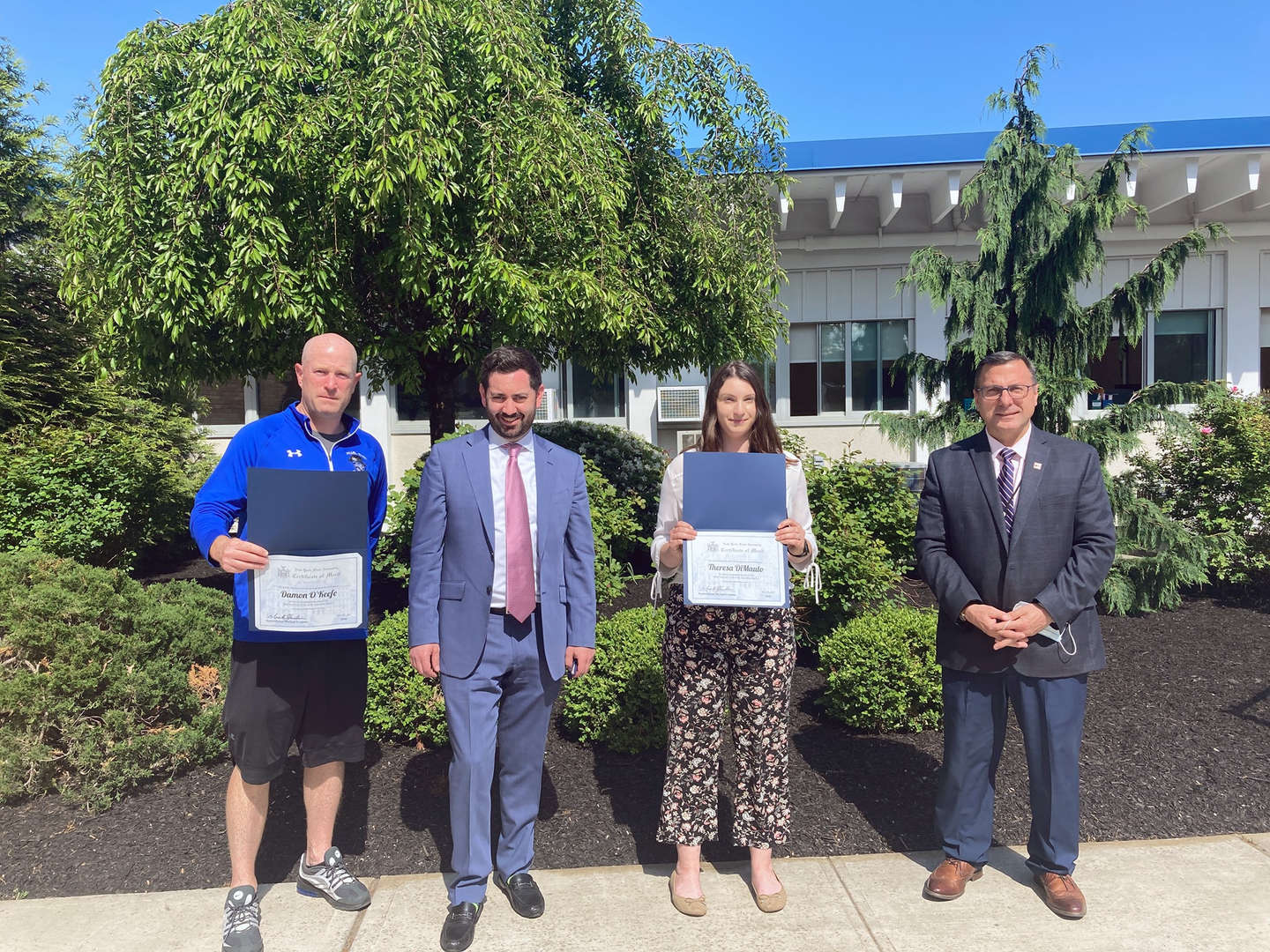 """NYS Assemblyman Mike Lawler presents PRHS Teacher Damon O'Keefe and Evans Park teacher Theresa DiMaulo with """"Best in Assembly District 97 Teacher"""" certificates!"""