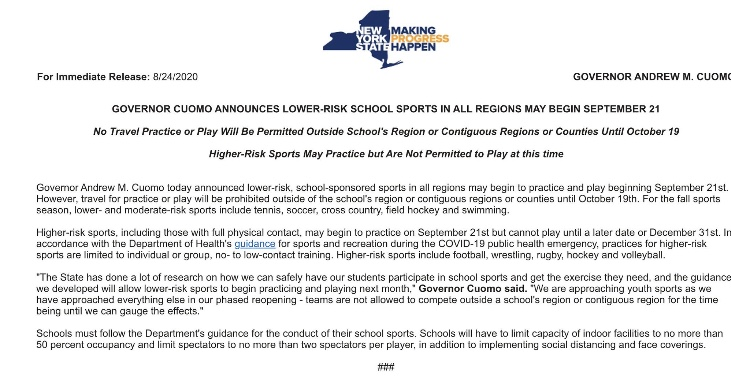 NYS Governor Cuomo Letter regarding some HS sports starting 9/21
