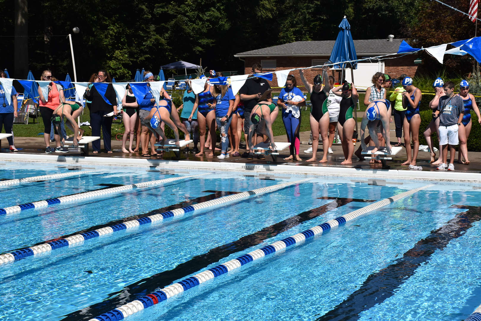 High school swimming race