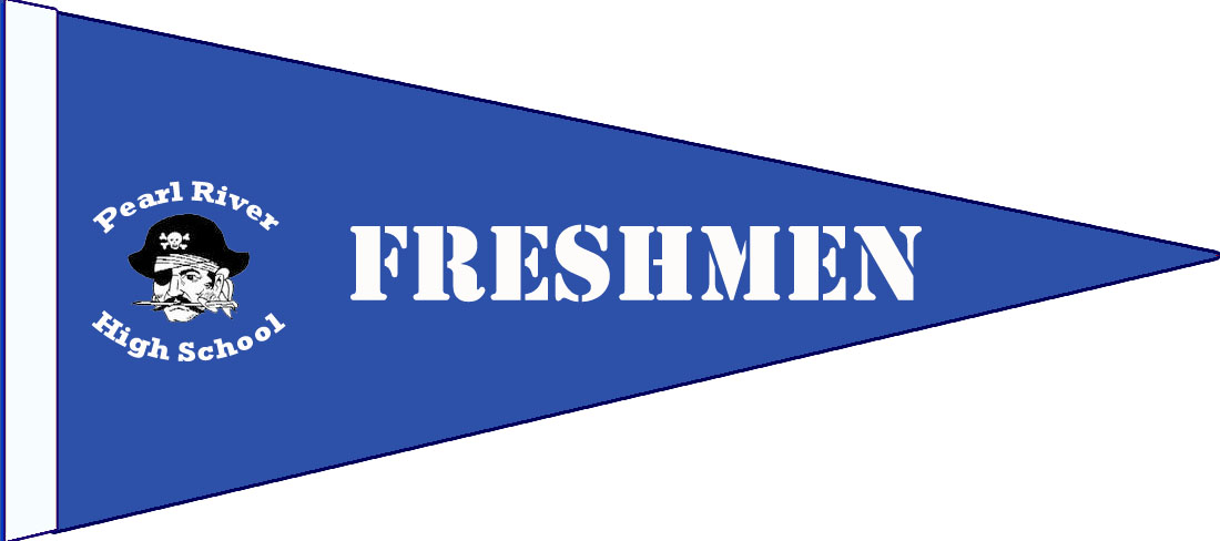 "blue pennant with pirate and texts: ""Freshmen"" and ""Pearl River High School"""