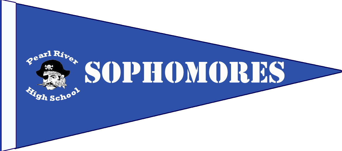 "blue pennant with pirate and texts: ""Sophomores"" and ""Pearl River High School"""