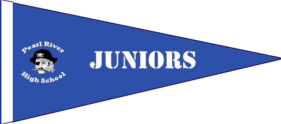 "blue pennant with pirate and texts: ""Juniors"" and ""Pearl River High School"""