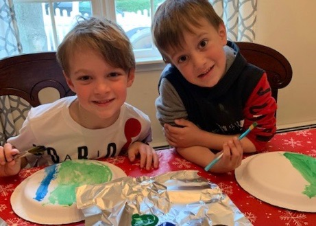 2 boys doing art project