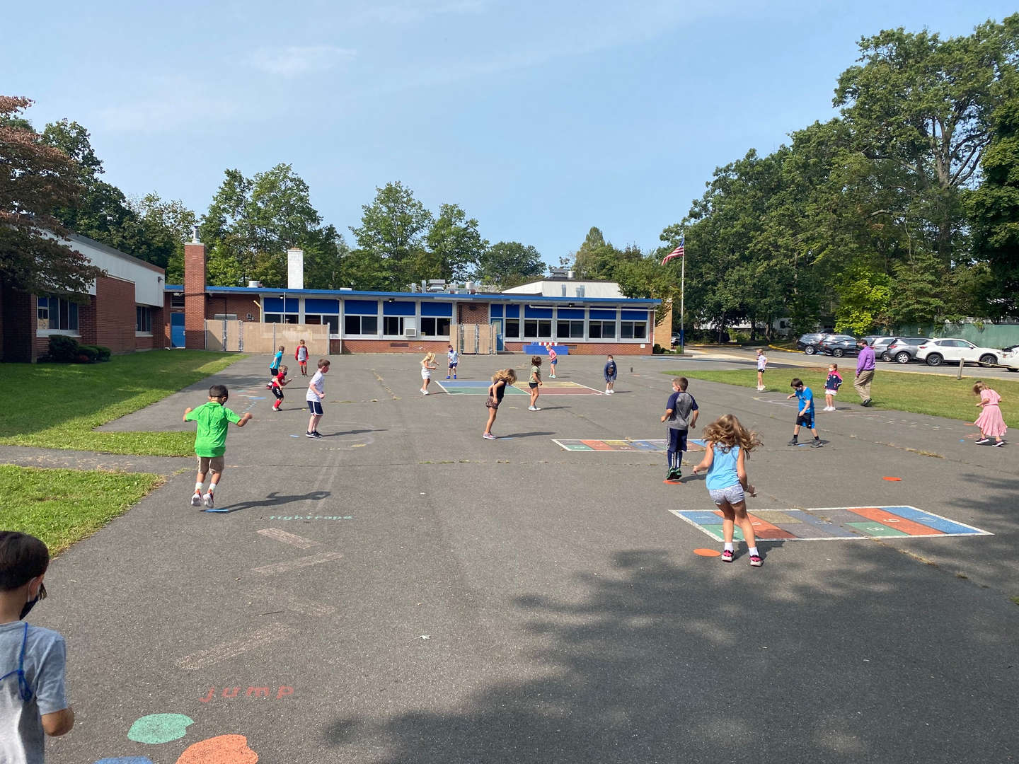 Students doing outside PE Stations