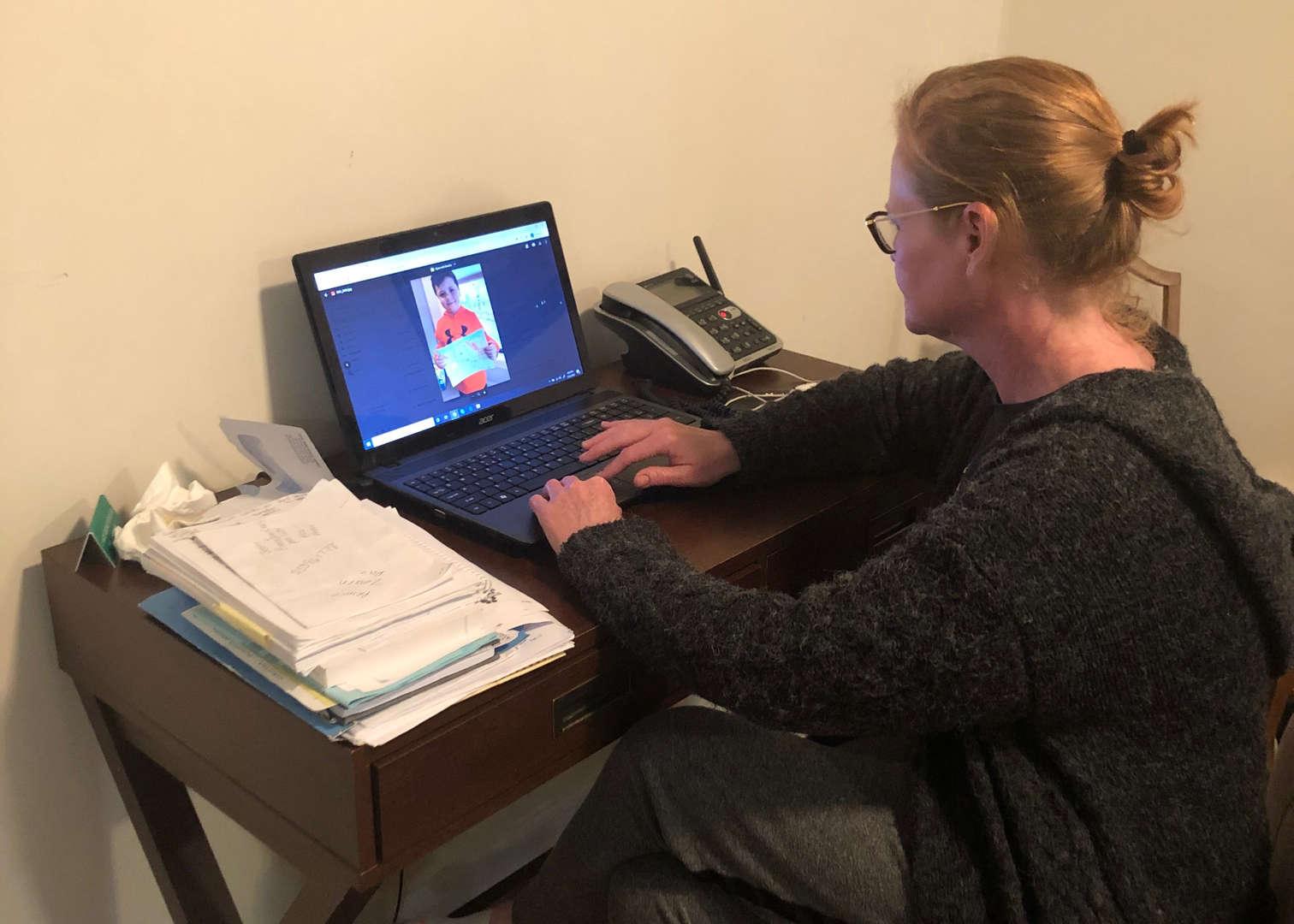 Kindergarten Teacher working on computer