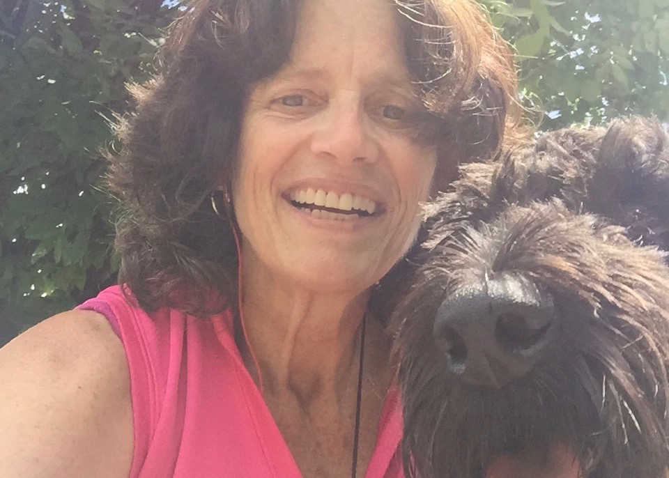 Teacher with her dog outside
