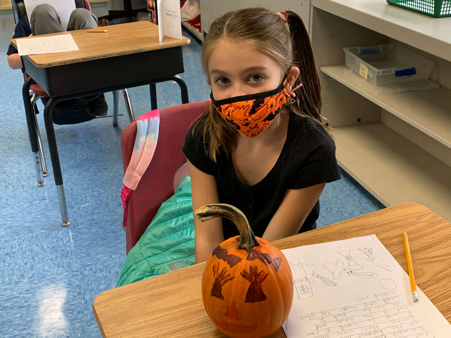 Student with Halloween Mask