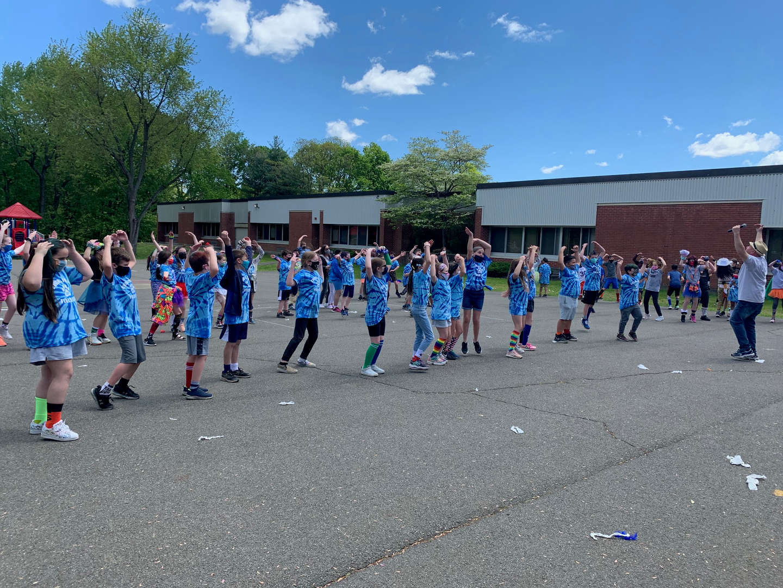 Students Line Dancing