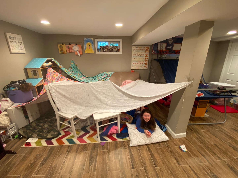 Girls in homemade fort
