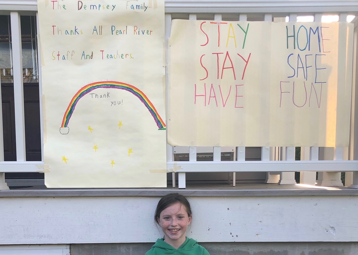 Caitlin with Thank You Signs