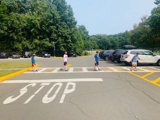 Students walking in the crosswalk