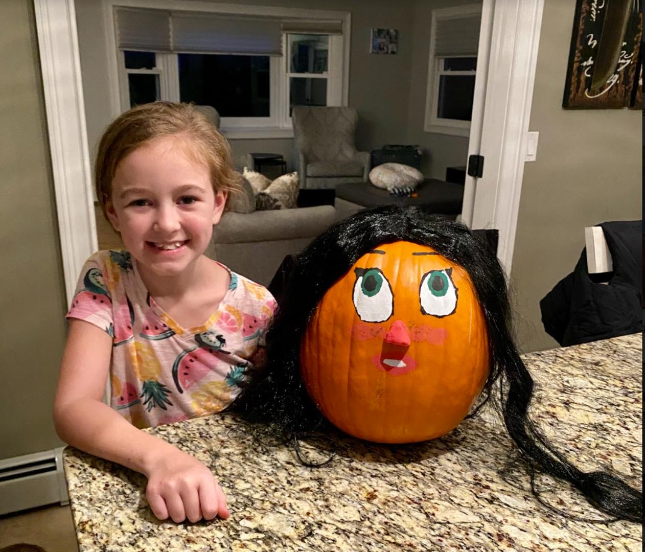 pumpkin with hair