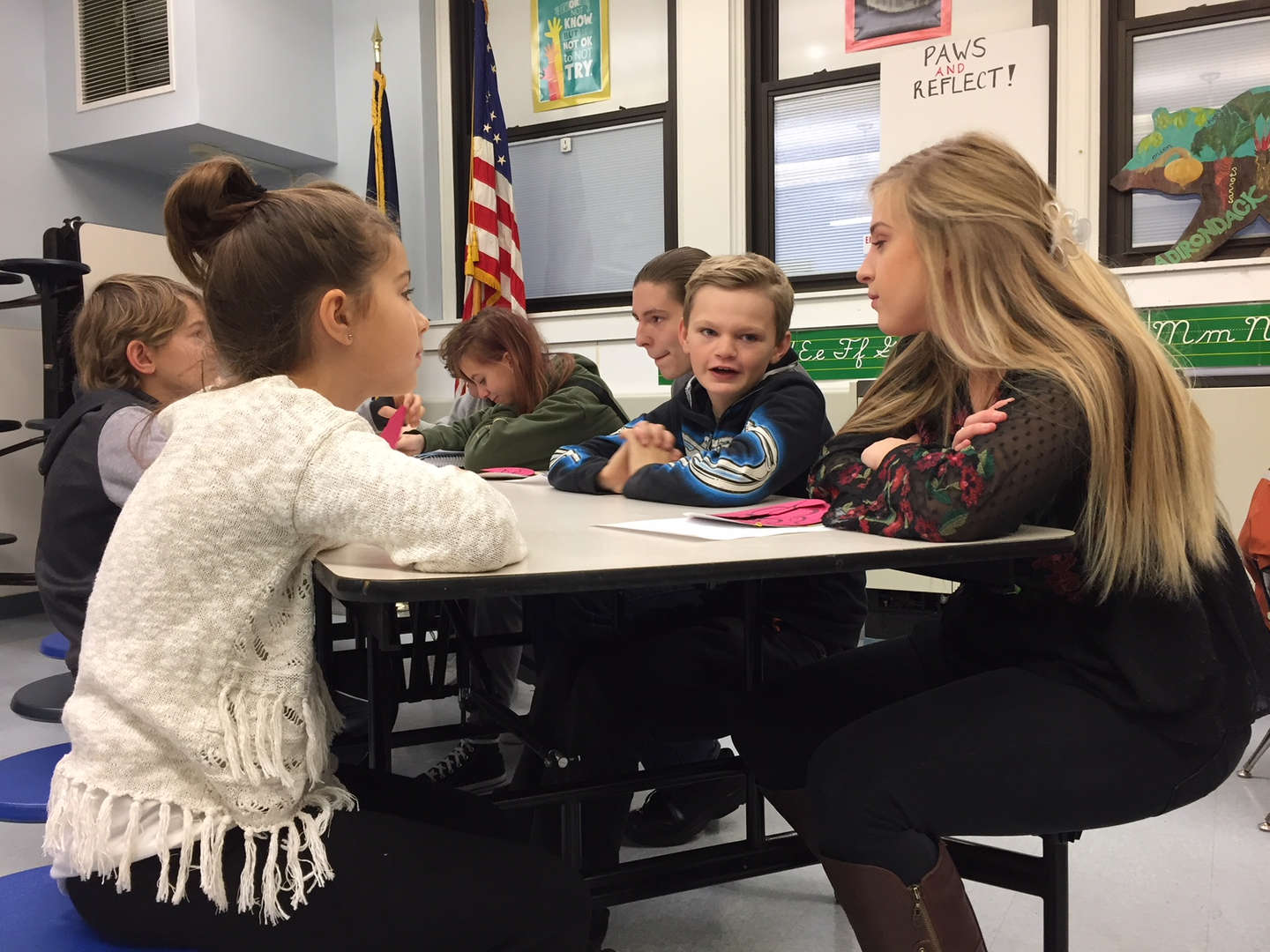 Students working together in a classroom