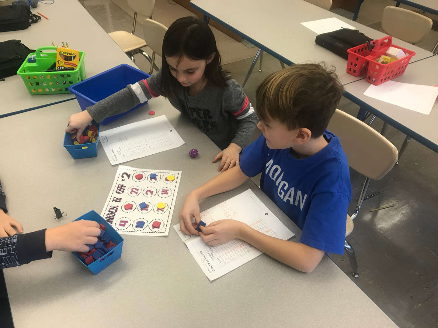 Students playing math game