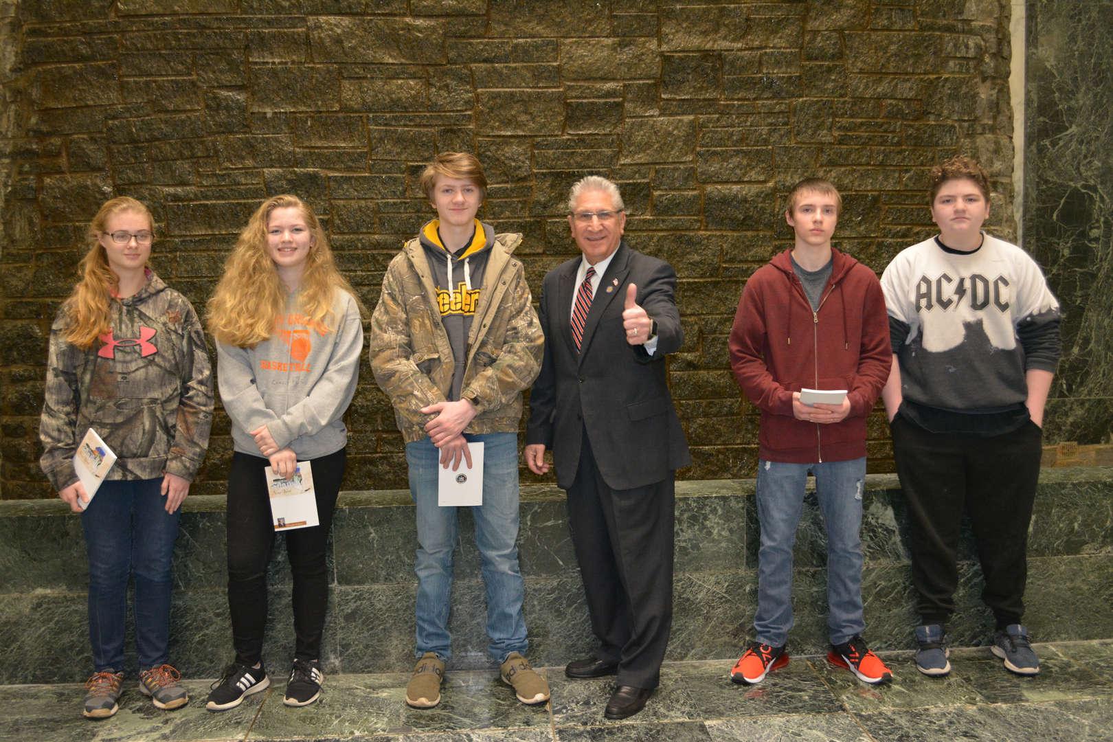 Students with Senator Tedisco