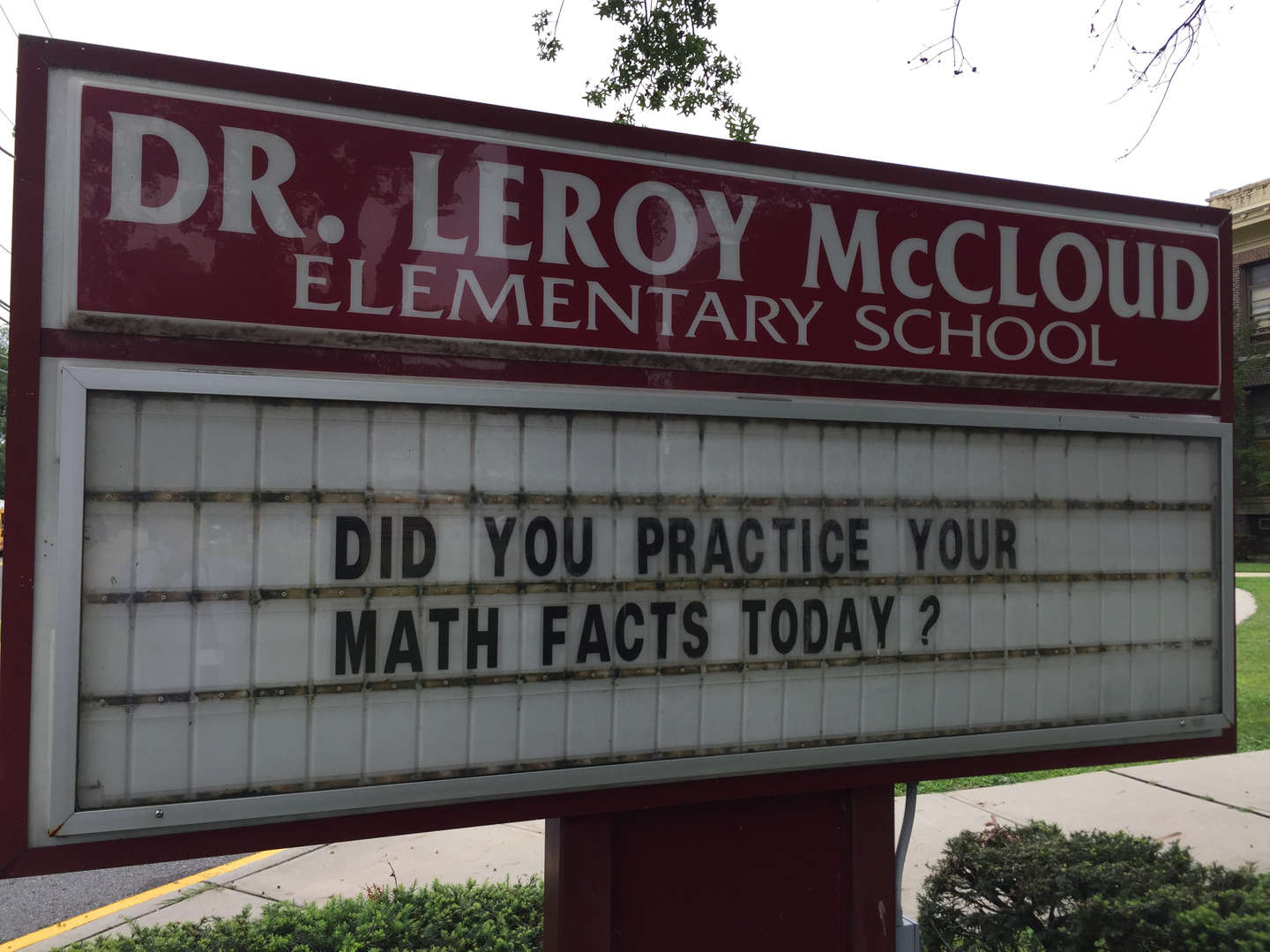 Front sign: Do you practice math facts every day?