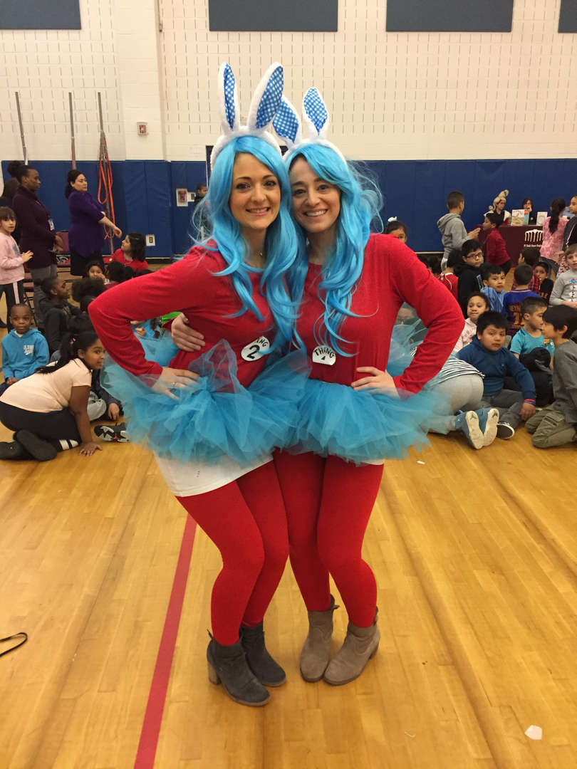 Teachers dressed as Thing 1 and Thing 2