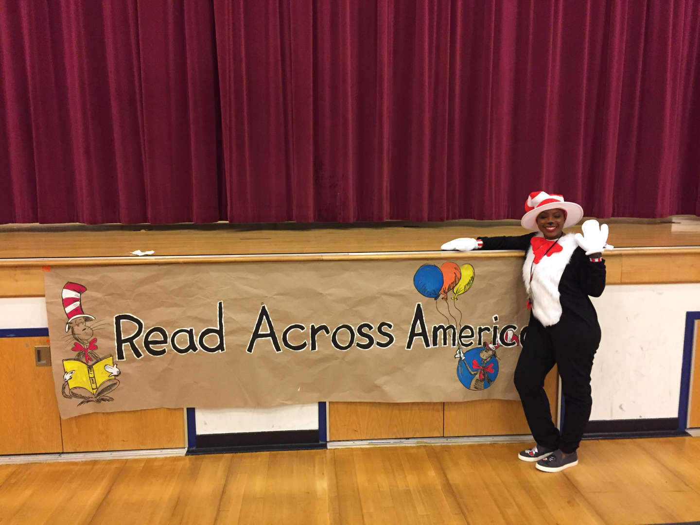 Teacher dressed as The Cat in the Hat